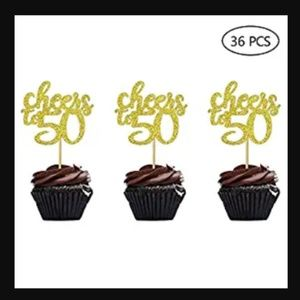 36 Gold Glitter Cheers to 50 Years Cupcake Toppers